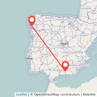 Mapa del viaje Granada Pontevedra en bus