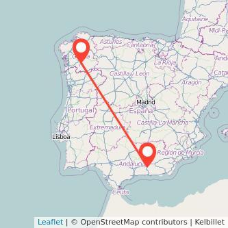 Mapa del viaje Granada Ourense en bus