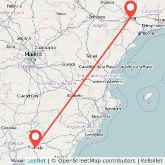 Mapa del viaje Granada Lérida en bus