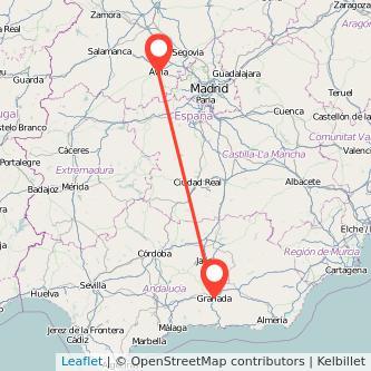 Mapa del viaje Granada Ávila en bus