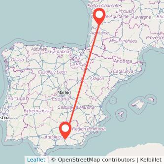 Mapa del viaje Granada Burdeos en bus