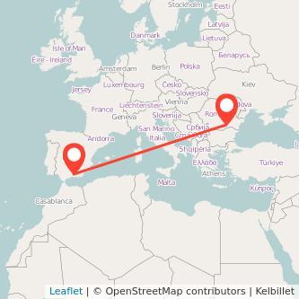 Mapa del viaje Granada Bucarest en bus