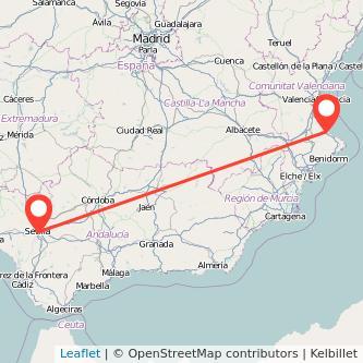 Mapa del viaje Gandia Sevilla en bus