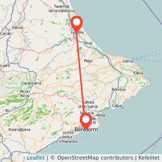 Mapa del viaje Gandia Benidorm en bus