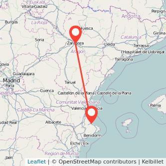 Mapa del viaje Gandia Zaragoza en bus