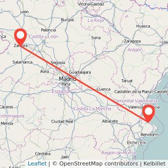 Mapa del viaje Gandia Zamora en bus
