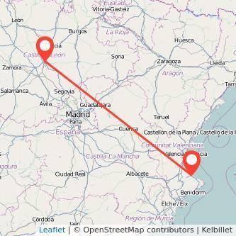 Mapa del viaje Gandia Valladolid en bus