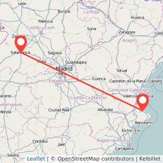 Mapa del viaje Gandia Salamanca en bus