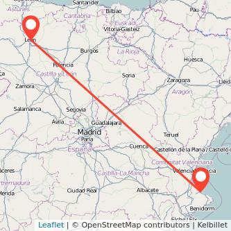 Mapa del viaje Gandia León en bus