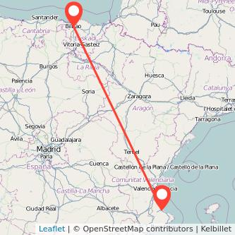 Mapa del viaje Gandia Bilbao en bus