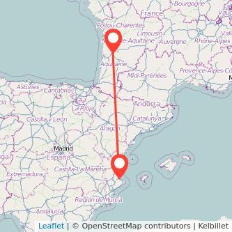 Mapa del viaje Gandia Burdeos en bus