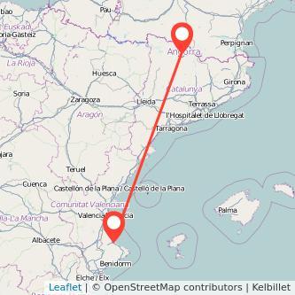 Mapa del viaje Gandia Andorra en bus