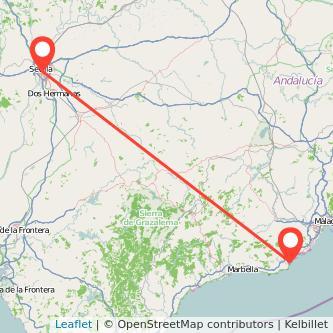 Mapa del viaje Fuengirola Sevilla en bus