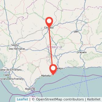 Mapa del viaje Fuengirola Córdoba en bus
