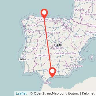 Mapa del viaje Fuengirola Oviedo en bus