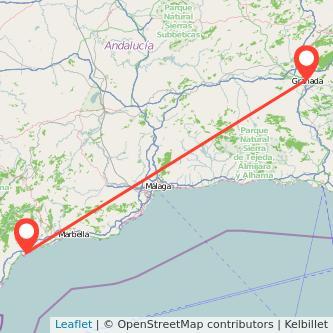 Mapa del viaje Estepona Granada en bus