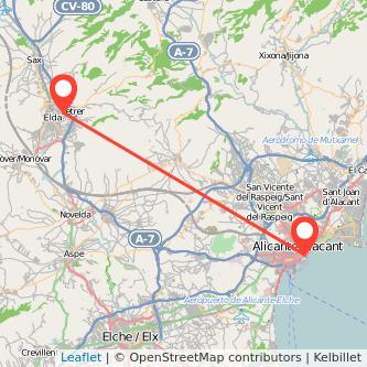 Mapa del viaje Elda Alicante en bus