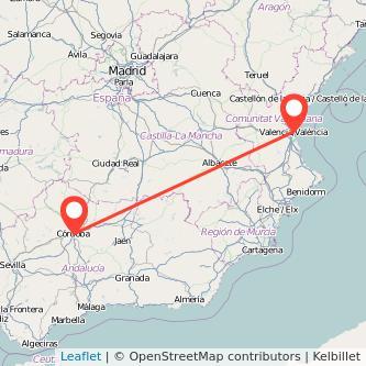 Mapa del viaje Córdoba Valencia en bus