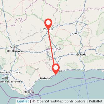 Mapa del viaje Córdoba Torremolinos en bus