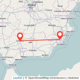 Mapa del viaje Córdoba Murcia en bus