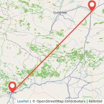 Mapa del viaje Córdoba Manzanares en bus