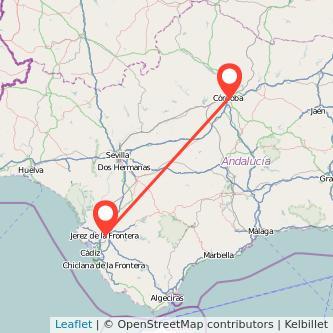 Mapa del viaje Córdoba Jerez de la Frontera en bus
