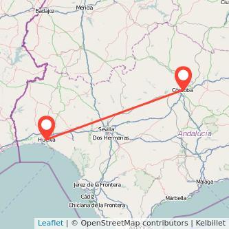 Mapa del viaje Córdoba Huelva en bus