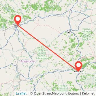Mapa del viaje Córdoba Granada en bus