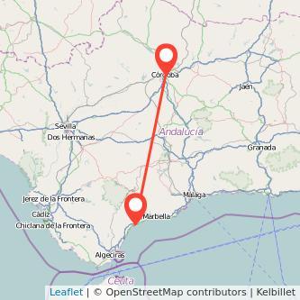 Mapa del viaje Córdoba Estepona en bus
