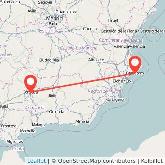 Mapa del viaje Córdoba Benidorm en bus