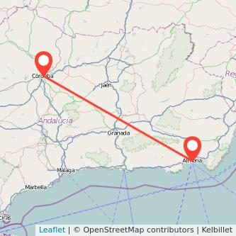 Mapa del viaje Córdoba Almería en bus