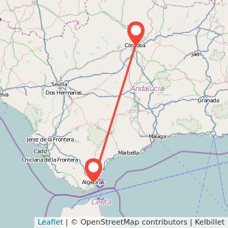 Mapa del viaje Córdoba Algeciras en bus