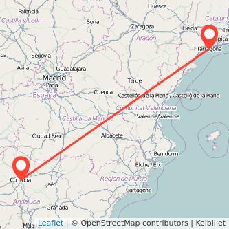 Mapa del viaje Córdoba Tarragona en bus