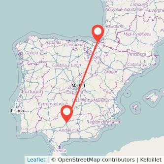Mapa del viaje Córdoba San Sebastián en bus