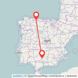 Mapa del viaje Córdoba Oviedo en bus