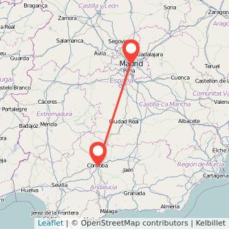 Mapa del viaje Córdoba Madrid en bus