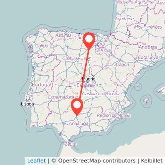 Mapa del viaje Córdoba Burgos en bus