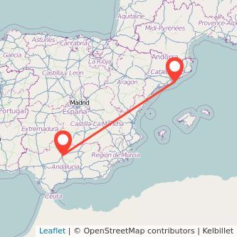 Mapa del viaje Córdoba Barcelona en bus