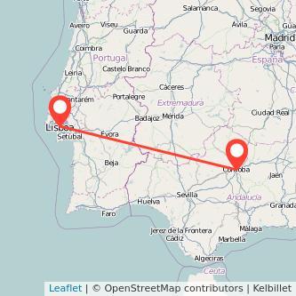 Mapa del viaje Córdoba Lisboa en bus