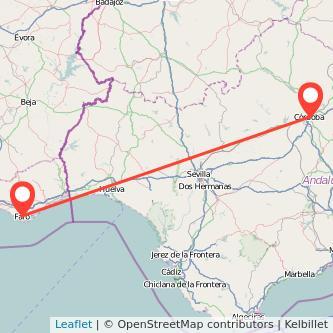 Mapa del viaje Córdoba Faro en bus