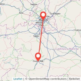 Mapa del viaje Ciudad Real Madrid en tren