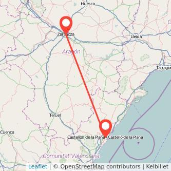 Mapa del viaje Castellón Zaragoza en bus