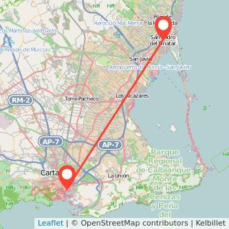 Mapa del viaje Cartagena San Pedro del Pinatar en bus