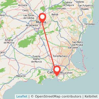 Mapa del viaje Cartagena Murcia en bus