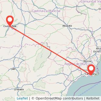 Mapa del viaje Cartagena Ciudad Real en bus