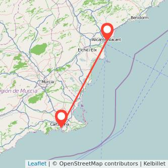 Mapa del viaje Cartagena Alicante en bus