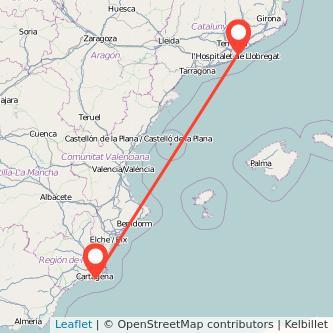 Mapa del viaje Cartagena Barcelona en bus
