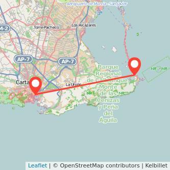 Mapa del viaje Cartagena La Manga del Mar Menor en bus