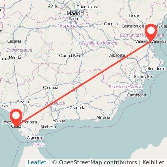 Mapa del viaje Cádiz Valencia en bus