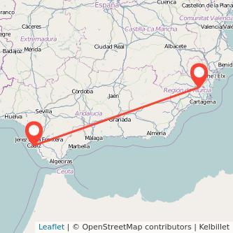 Mapa del viaje Cádiz Murcia en bus
